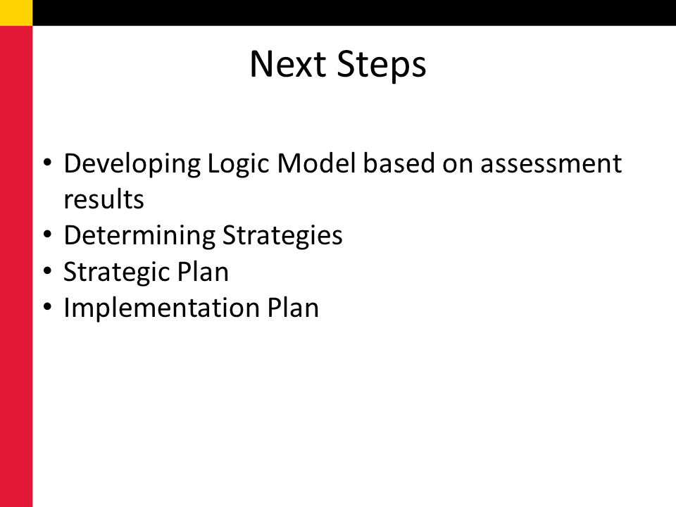 Next Steps Developing Logic Model based on assessment results Determining Strategies Strategic Plan Implementation Plan