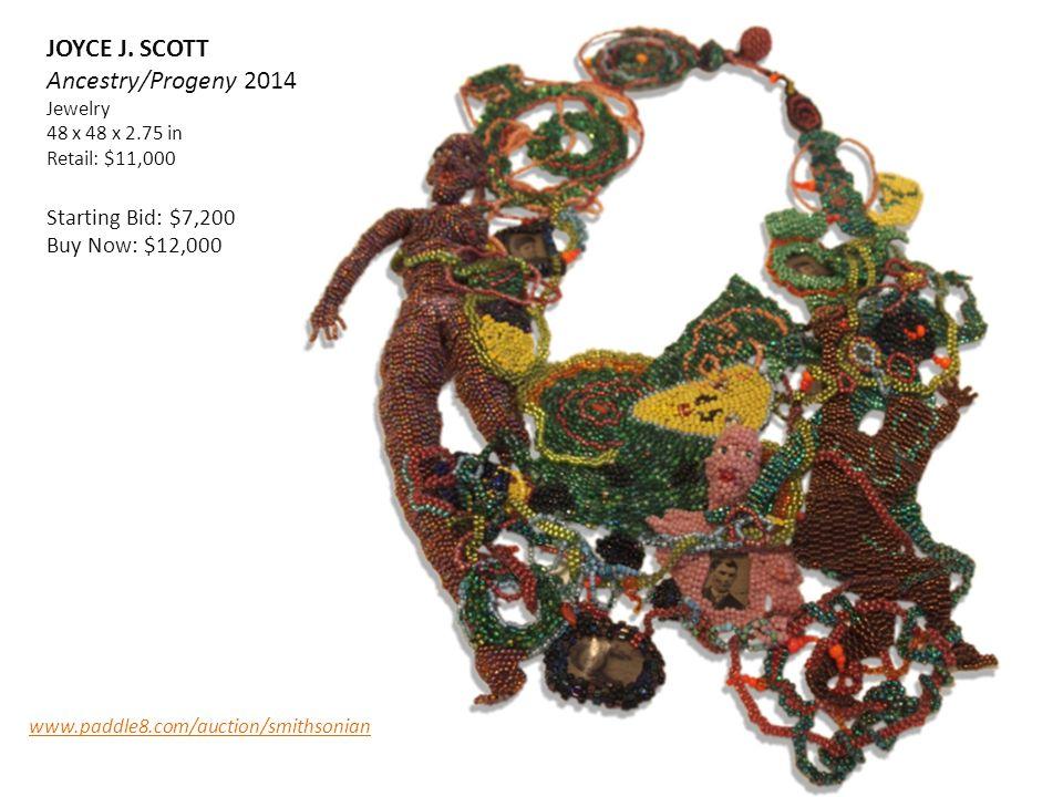 JOYCE J. SCOTT Ancestry/Progeny 2014 Jewelry 48 x 48 x 2.75 in Retail: $11,000 Starting Bid: $7,200 Buy Now: $12,000 www.paddle8.com/auction/smithsoni