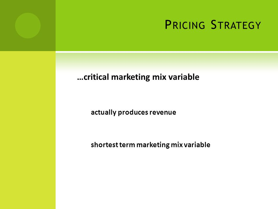 P RICING S TRATEGY …critical marketing mix variable actually produces revenue shortest term marketing mix variable