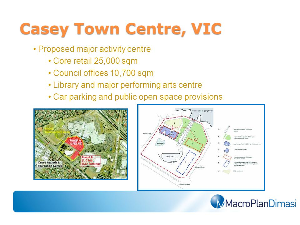 Proposed major activity centre Core retail 25,000 sqm Council offices 10,700 sqm Library and major performing arts centre Car parking and public open space provisions Casey Town Centre, VIC