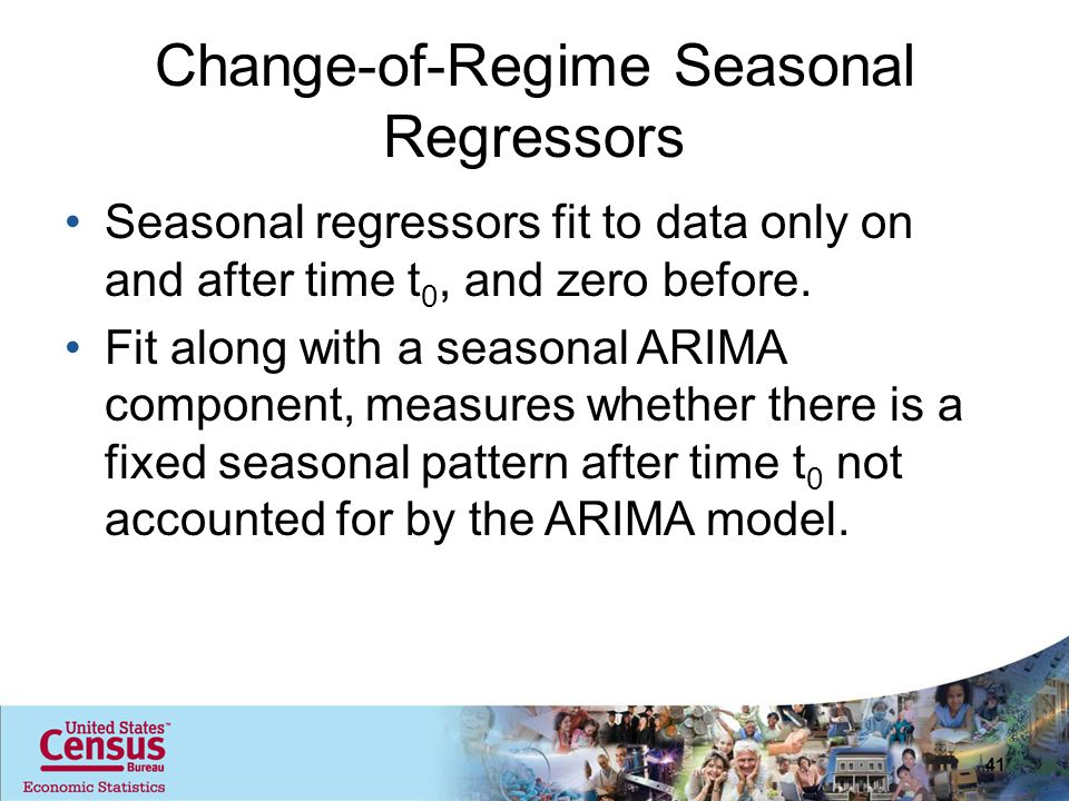 Change-of-Regime Seasonal Regressors Seasonal regressors fit to data only on and after time t 0, and zero before.