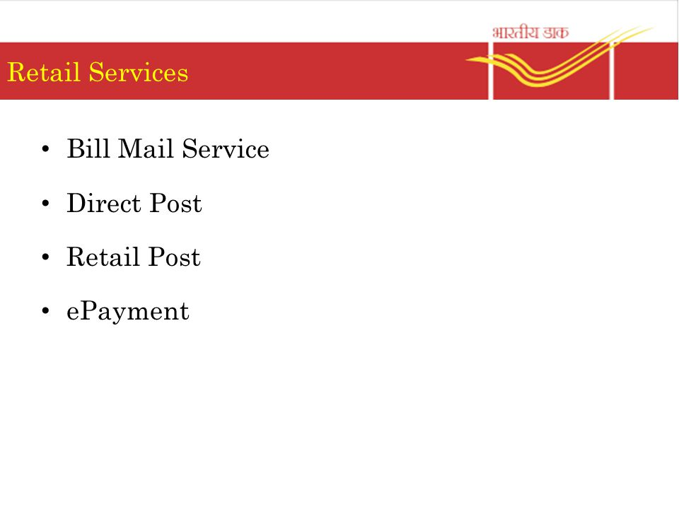 Retail Services Bill Mail Service Direct Post Retail Post ePayment