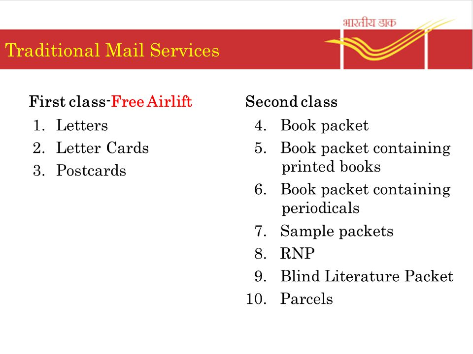 Traditional Mail Services First class-Free Airlift 1.Letters 2.Letter Cards 3.Postcards Second class 4. Book packet 5. Book packet containing printed