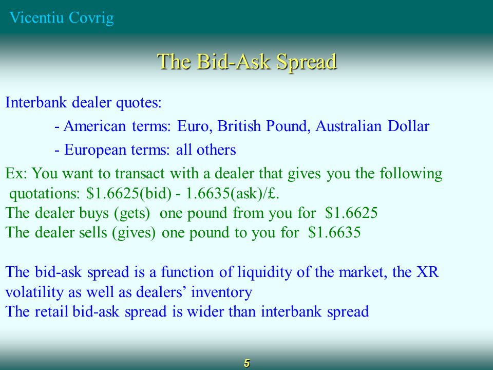 Vicentiu Covrig 5 The Bid-Ask Spread Interbank dealer quotes: - American terms: Euro, British Pound, Australian Dollar - European terms: all others Ex: You want to transact with a dealer that gives you the following quotations: $1.6625(bid) - 1.6635(ask)/£.