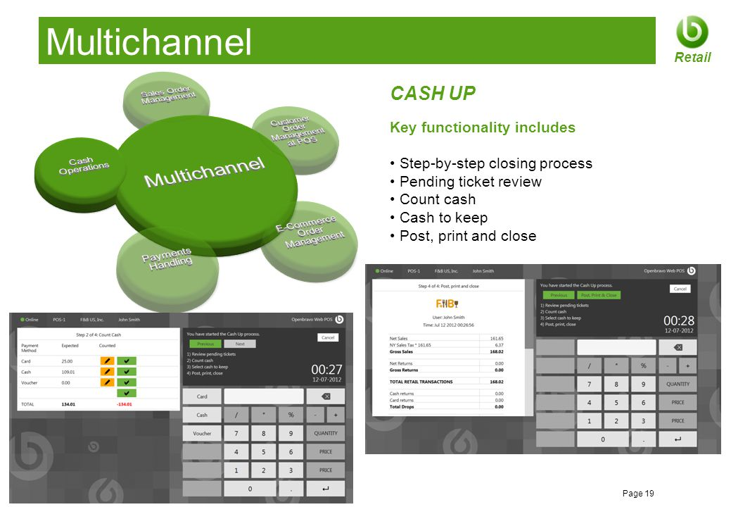 © 2012 Openbravo Inc Page 19 Retail Multichannel CASH UP Key functionality includes Step-by-step closing process Pending ticket review Count cash Cash