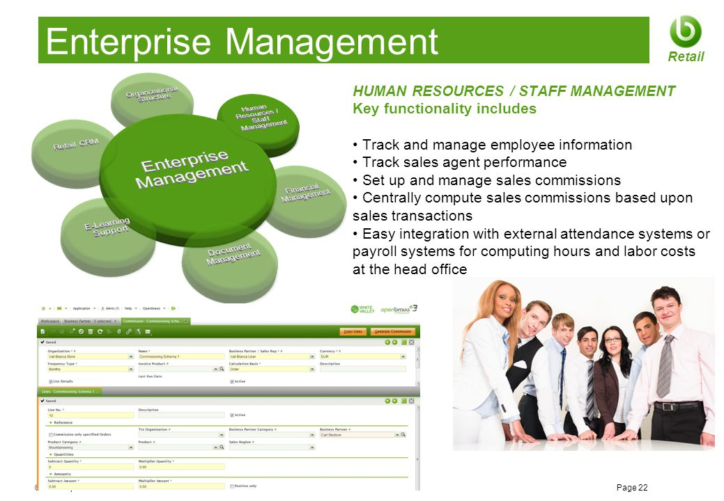© 2012 Openbravo Inc Page 22 Retail Enterprise Management HUMAN RESOURCES / STAFF MANAGEMENT Key functionality includes Track and manage employee info