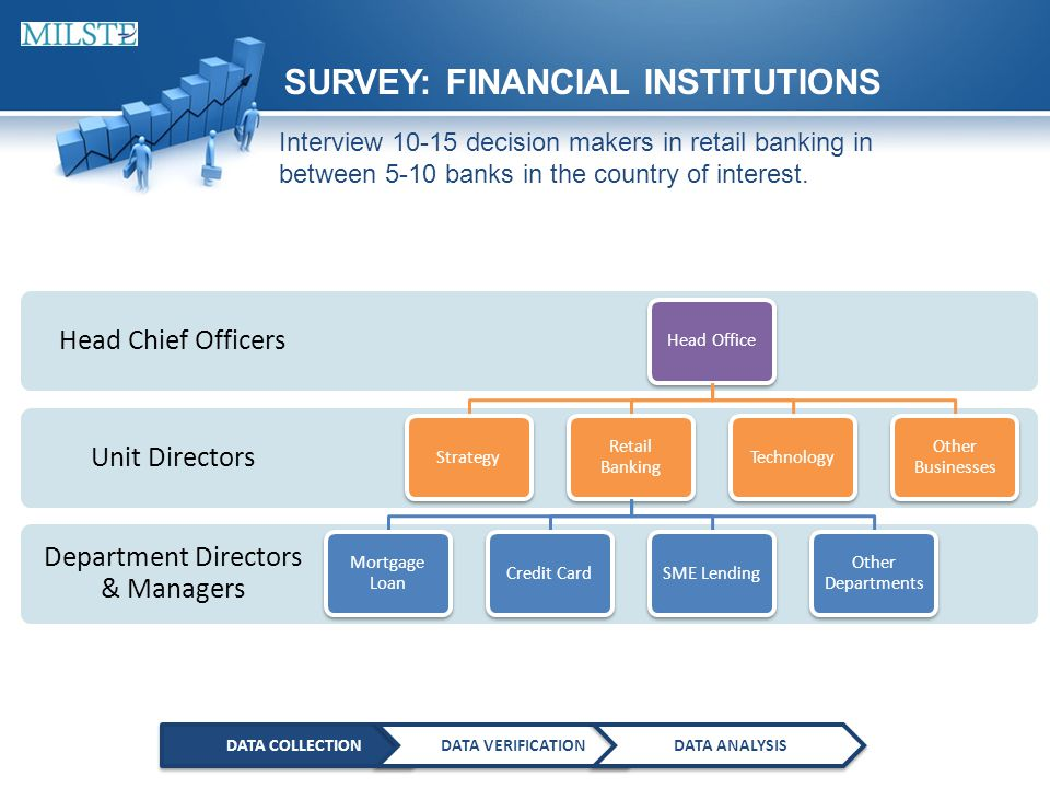 DATA COLLECTIONDATA VERIFICATIONDATA ANALYSIS SURVEY: FINANCIAL INSTITUTIONS Interview 10-15 decision makers in retail banking in between 5-10 banks in the country of interest.