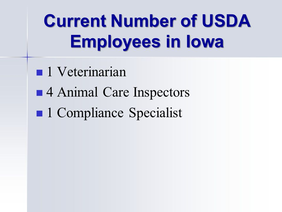 Current Number of USDA Employees in Iowa 1 Veterinarian 4 Animal Care Inspectors 1 Compliance Specialist