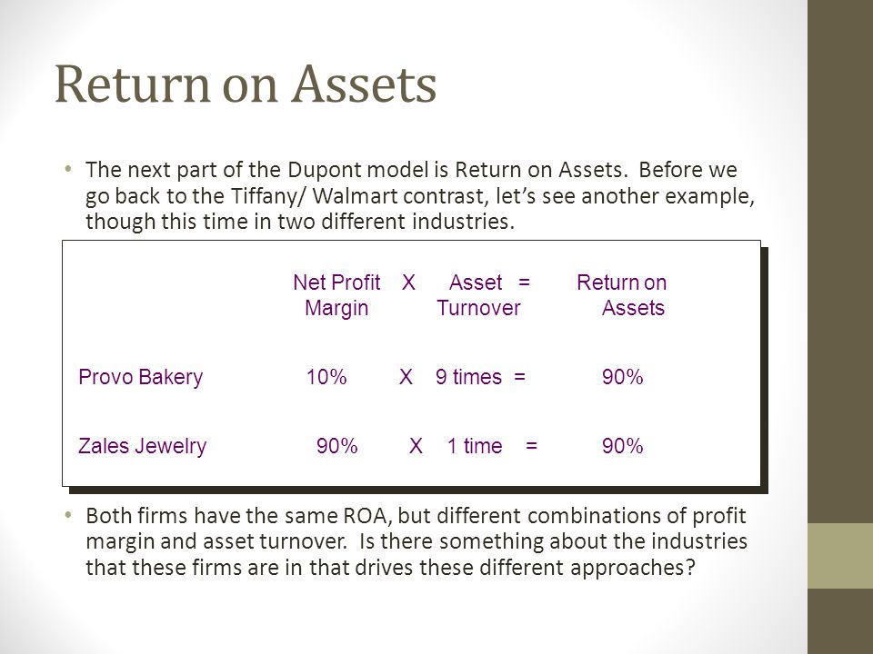 Return on Assets The next part of the Dupont model is Return on Assets.