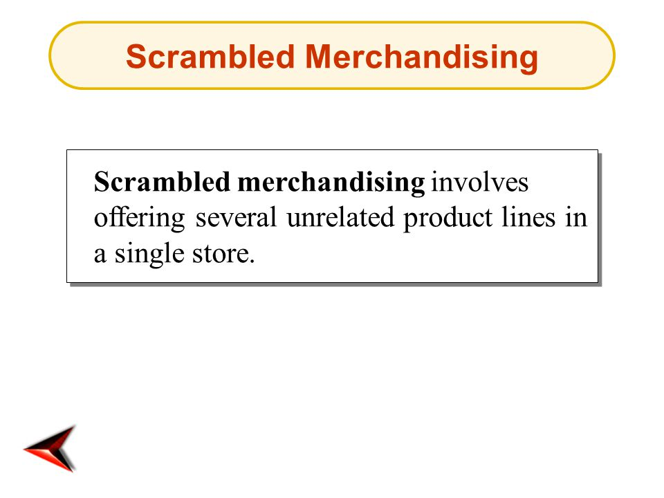 Scrambled Merchandising Scrambled merchandising involves offering several unrelated product lines in a single store.