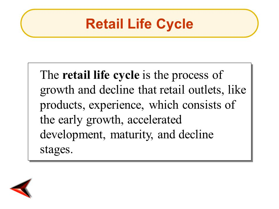 Retail Life Cycle The retail life cycle is the process of growth and decline that retail outlets, like products, experience, which consists of the ear