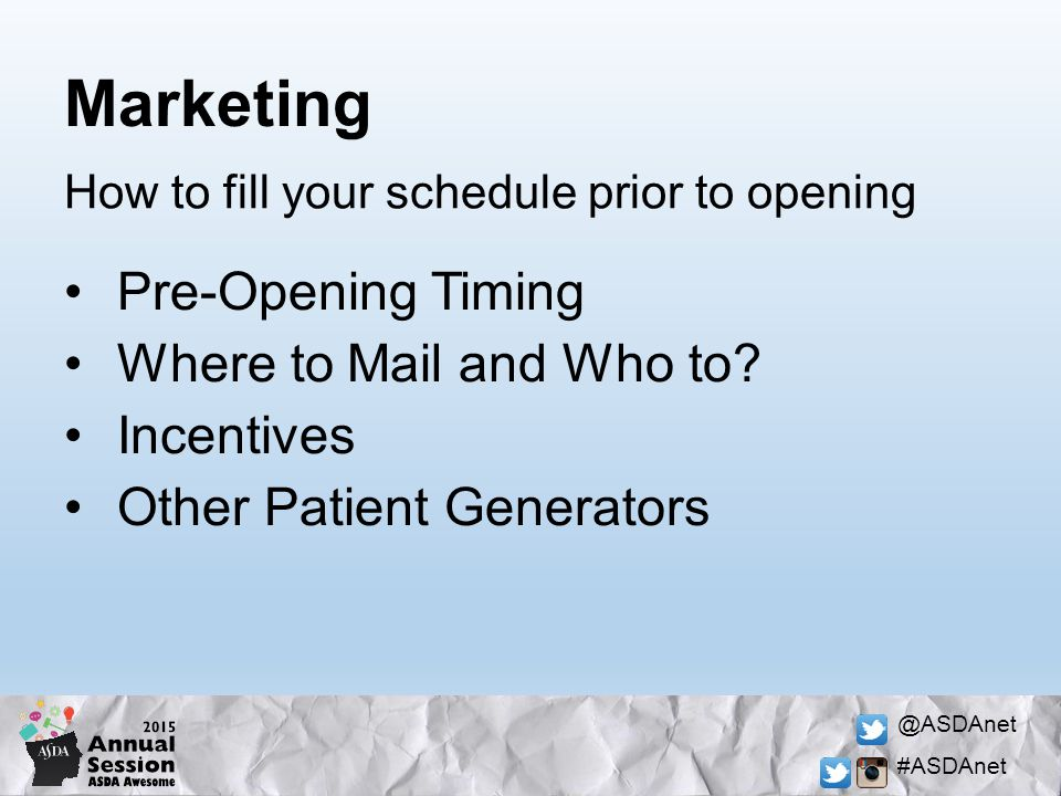 @ASDAnet #ASDAnet Marketing Pre-Opening Timing Where to Mail and Who to.