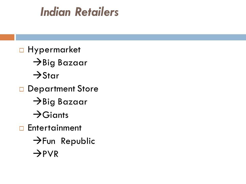 Indian Retailers  Hypermarket  Big Bazaar  Star  Department Store  Big Bazaar  Giants  Entertainment  Fun Republic  PVR