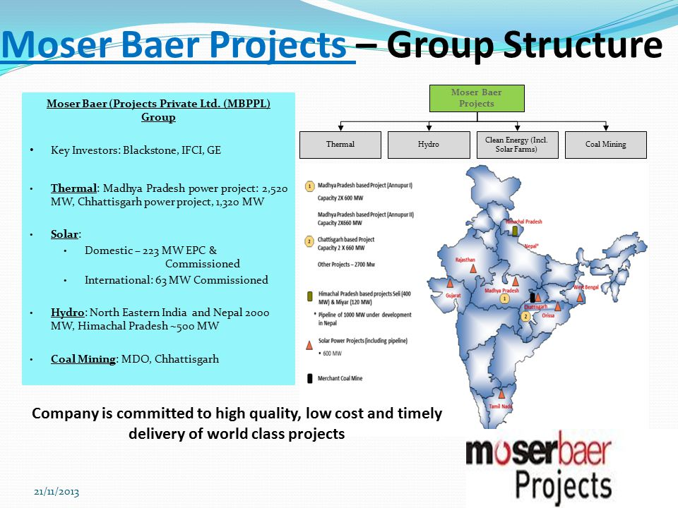 Moser Baer Projects – Group Structure 4 Moser Baer (Projects Private Ltd.