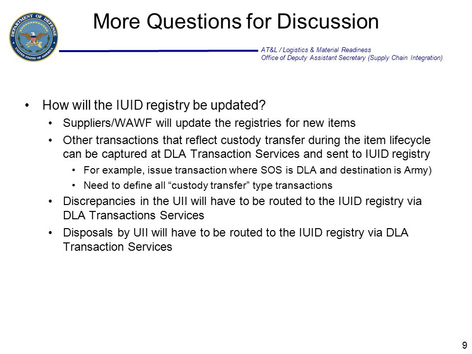 AT&L / Logistics & Material Readiness Office of Deputy Assistant Secretary (Supply Chain Integration) Back Up Charts 10