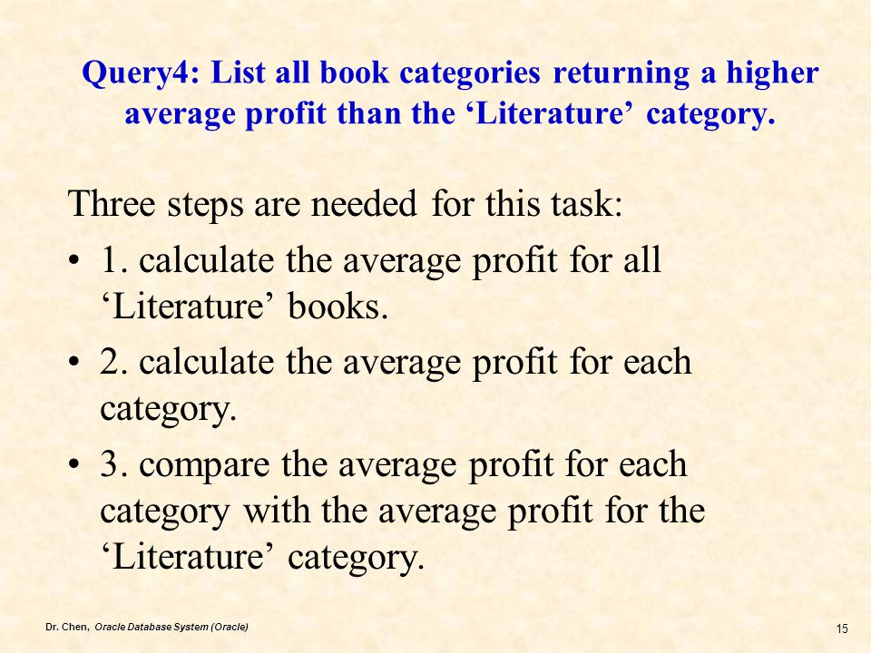 Dr. Chen, Oracle Database System (Oracle) 15 Query4: List all book categories returning a higher average profit than the 'Literature' category. Three