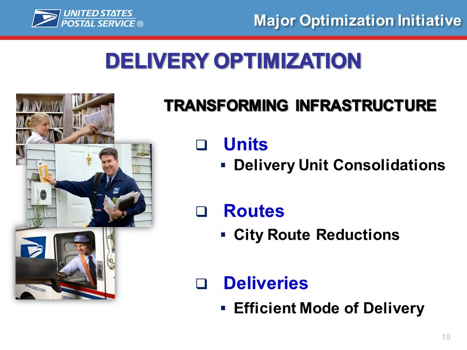 Major Optimization Initiative  Units  Delivery Unit Consolidations  Routes  City Route Reductions  Deliveries  Efficient Mode of Delivery 19