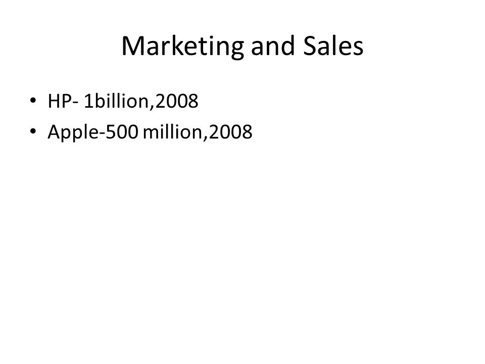 Marketing and Sales HP- 1billion,2008 Apple-500 million,2008