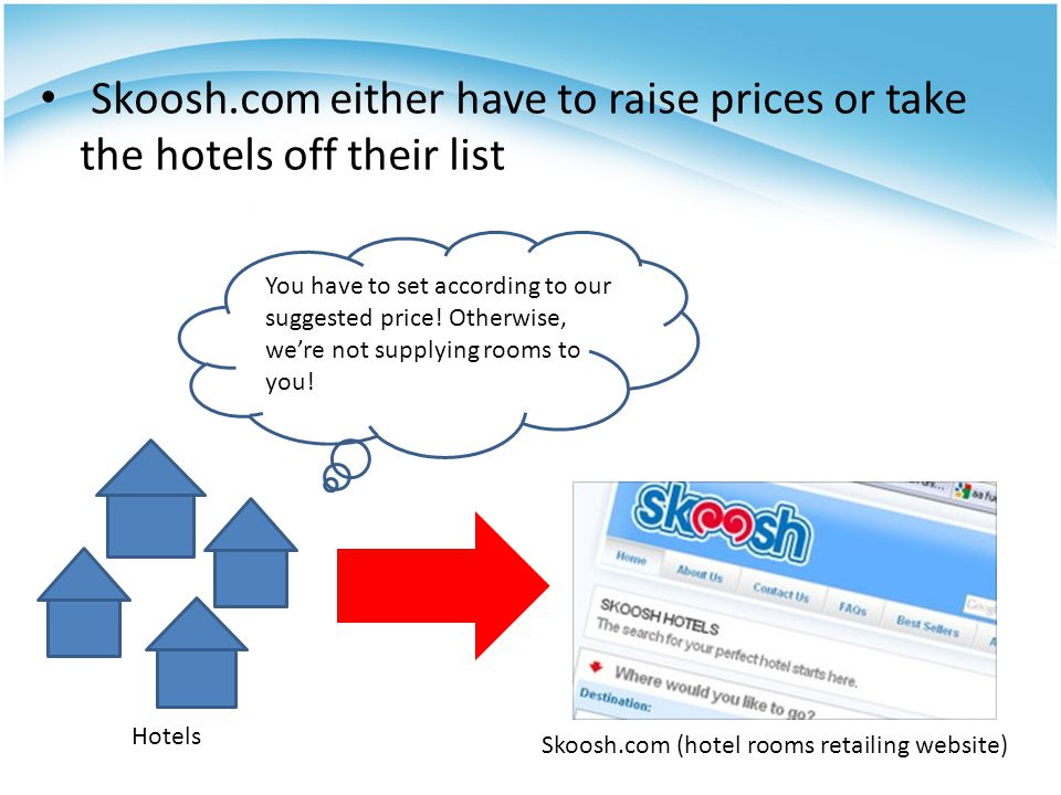 Effects Under resale price maintenance, hotels themselves imposed a minimum price on online hotel room sales