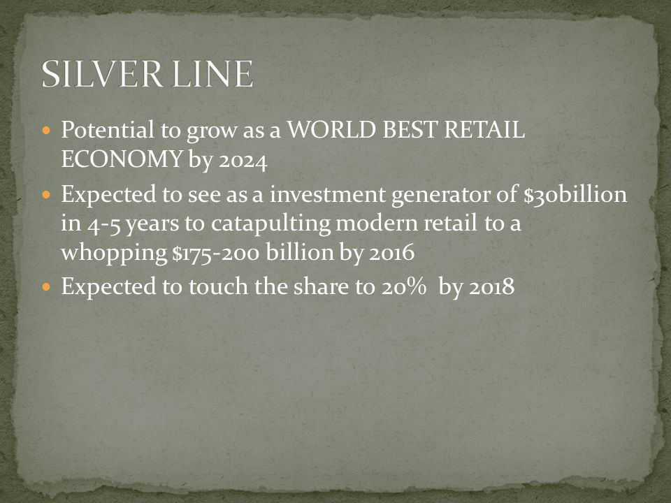 Potential to grow as a WORLD BEST RETAIL ECONOMY by 2024 Expected to see as a investment generator of $30billion in 4-5 years to catapulting modern retail to a whopping $175-200 billion by 2016 Expected to touch the share to 20% by 2018
