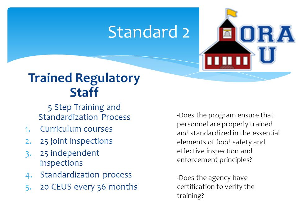 Standard 2 Trained Regulatory Staff 5 Step Training and Standardization Process 1.Curriculum courses 2.25 joint inspections 3.25 independent inspections 4.Standardization process 5.20 CEUS every 36 months -Does the program ensure that personnel are properly trained and standardized in the essential elements of food safety and effective inspection and enforcement principles.