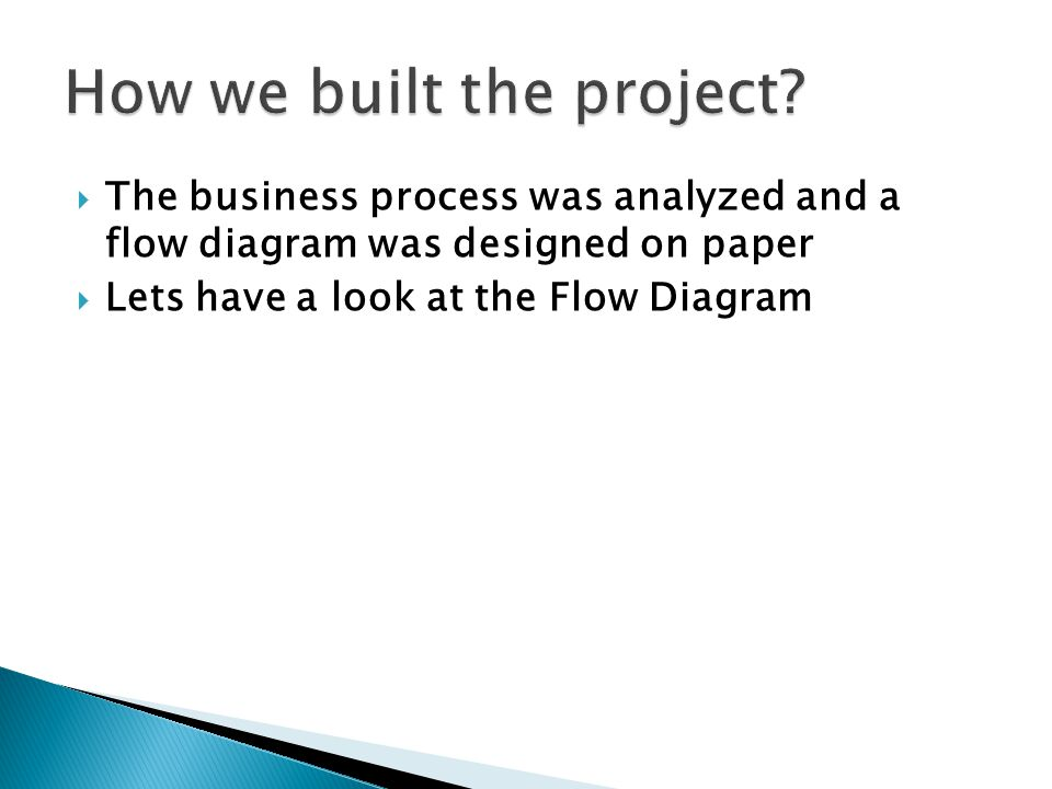  The business process was analyzed and a flow diagram was designed on paper  Lets have a look at the Flow Diagram