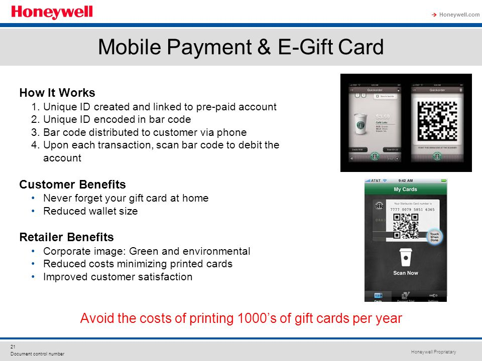 Honeywell Proprietary Honeywell.com  21 Document control number Mobile Payment & E-Gift Card How It Works 1.Unique ID created and linked to pre-paid