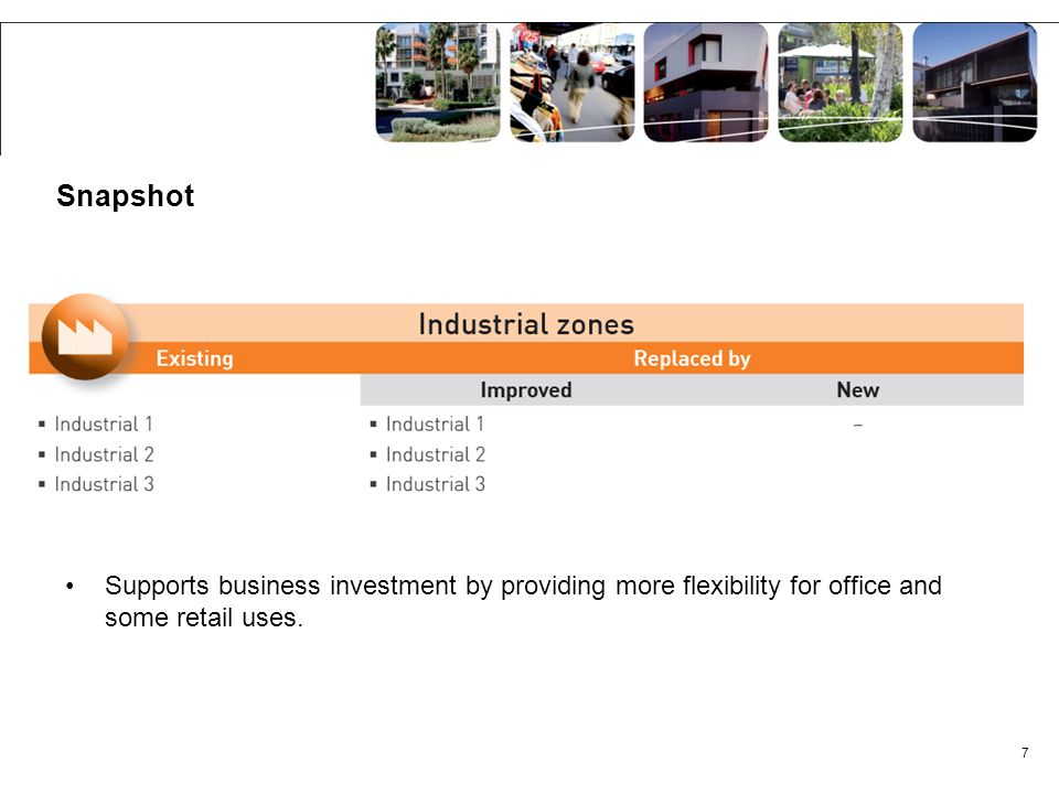 Snapshot Supports business investment by providing more flexibility for office and some retail uses. 7