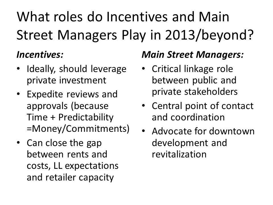 What roles do Incentives and Main Street Managers Play in 2013/beyond.