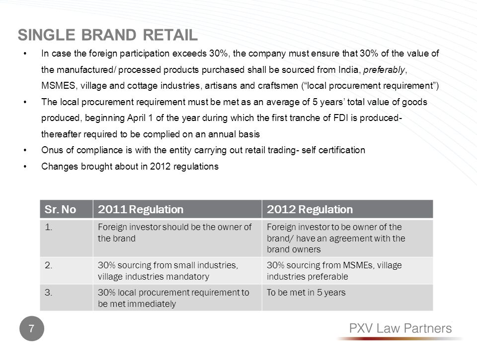 51% FDI permitted subject to FIPB approval Enabling policy- Retail only in States which permit multi-brand retail- states may impose additional conditions- so far no additional conditions have been notified Minimum FDI amount US$ 100 million Only in cities with population of more than 1 million, or the largest city of the state/union territory At least 50% FDI to be invested in back-end infrastructure, i.e.