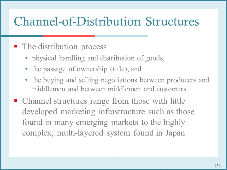 15-3  The distribution process physical handling and distribution of goods, the passage of ownership (title), and the buying and selling negotiations