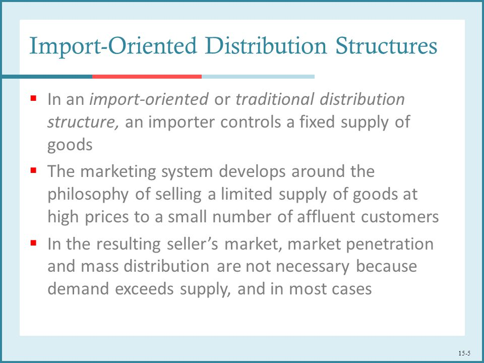 15-5 Import-Oriented Distribution Structures  In an import-oriented or traditional distribution structure, an importer controls a fixed supply of goo