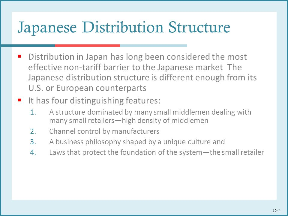 15-7 Japanese Distribution Structure  Distribution in Japan has long been considered the most effective non-tariff barrier to the Japanese market The