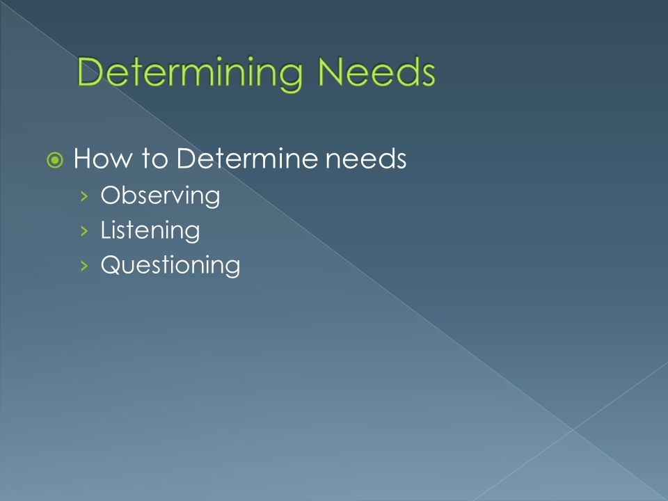  How to Determine needs › Observing › Listening › Questioning