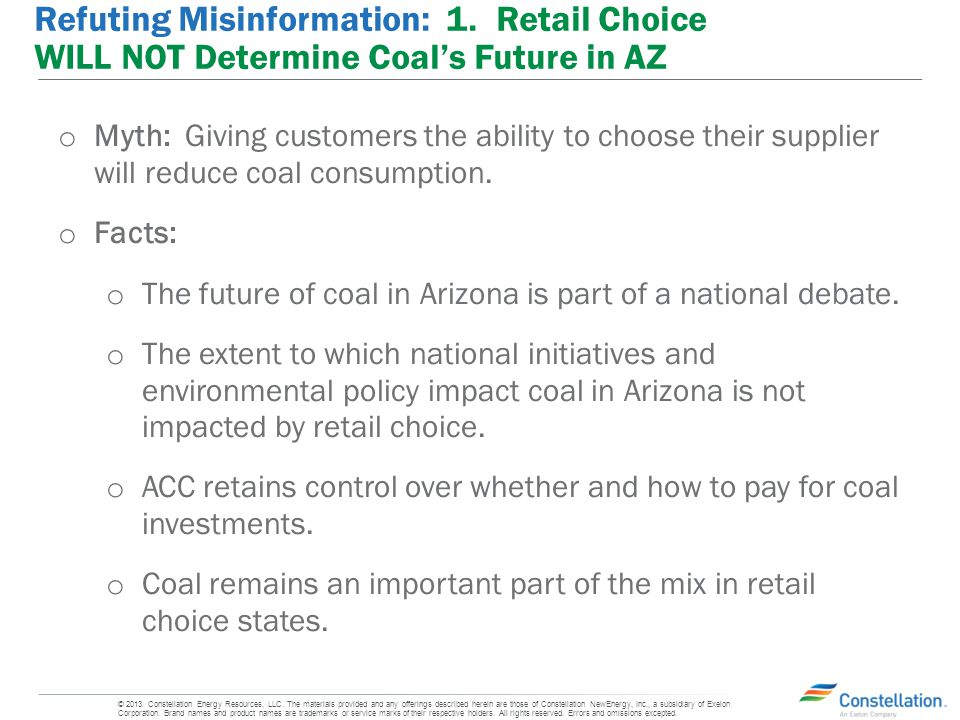 o Myth: Giving customers the ability to choose their supplier will reduce coal consumption.