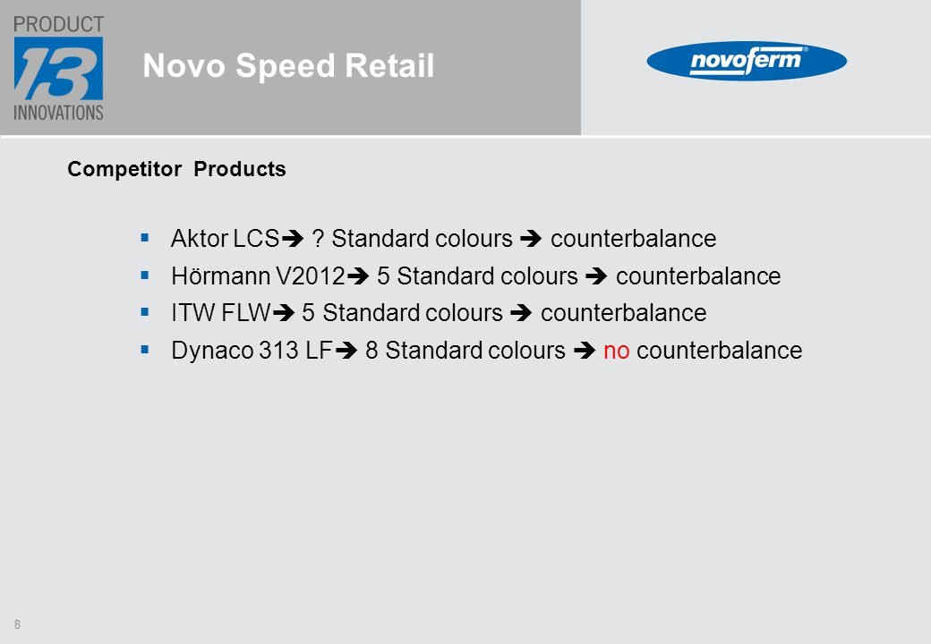 8 Novo Speed Retail Competitor Products  Aktor LCS  .