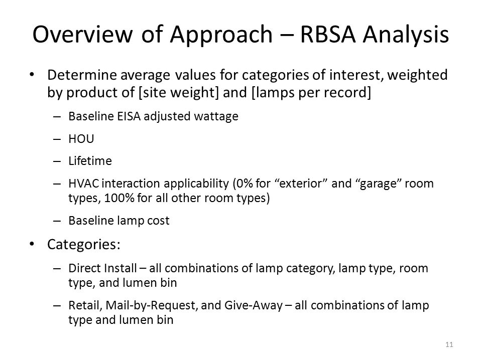 Overview of Approach – RBSA Analysis Determine average values for categories of interest, weighted by product of [site weight] and [lamps per record] – Baseline EISA adjusted wattage – HOU – Lifetime – HVAC interaction applicability (0% for exterior and garage room types, 100% for all other room types) – Baseline lamp cost Categories: – Direct Install – all combinations of lamp category, lamp type, room type, and lumen bin – Retail, Mail-by-Request, and Give-Away – all combinations of lamp type and lumen bin 11
