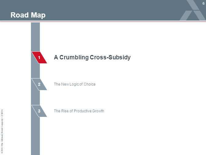 © 2013 The Advisory Board Company 27497A 2 3 1 Road Map 6 The Rise of Productive Growth The New Logic of Choice A Crumbling Cross-Subsidy