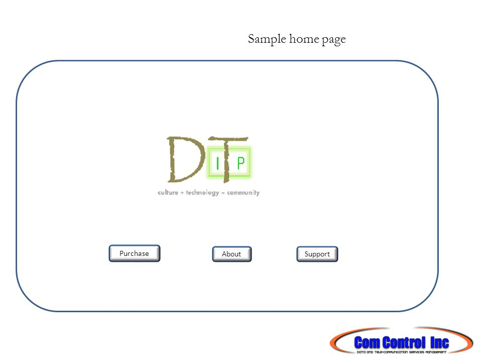 Sample home page Purchase SupportAbout