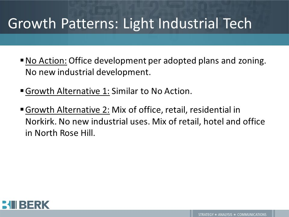 Growth Patterns: Light Industrial Tech  No Action: Office development per adopted plans and zoning.