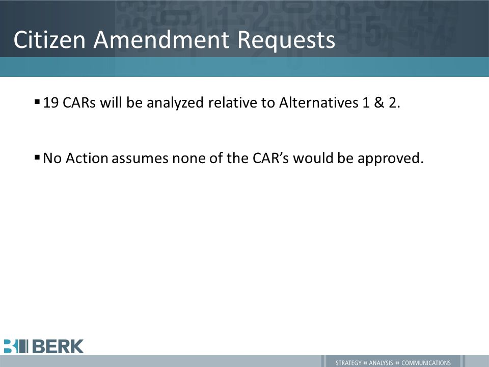 Citizen Amendment Requests  19 CARs will be analyzed relative to Alternatives 1 & 2.