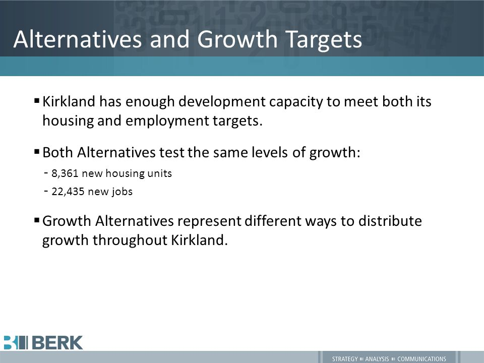 Summary of Alternatives  No Action: Adopted land use plans, policies, and development regulations.