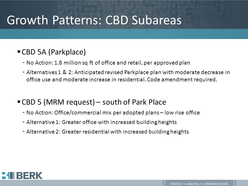Growth Patterns: CBD Subareas  CBD 5A (Parkplace) –No Action: 1.8 million sq ft of office and retail, per approved plan –Alternatives 1 & 2: Anticipated revised Parkplace plan with moderate decrease in office use and moderate increase in residential.