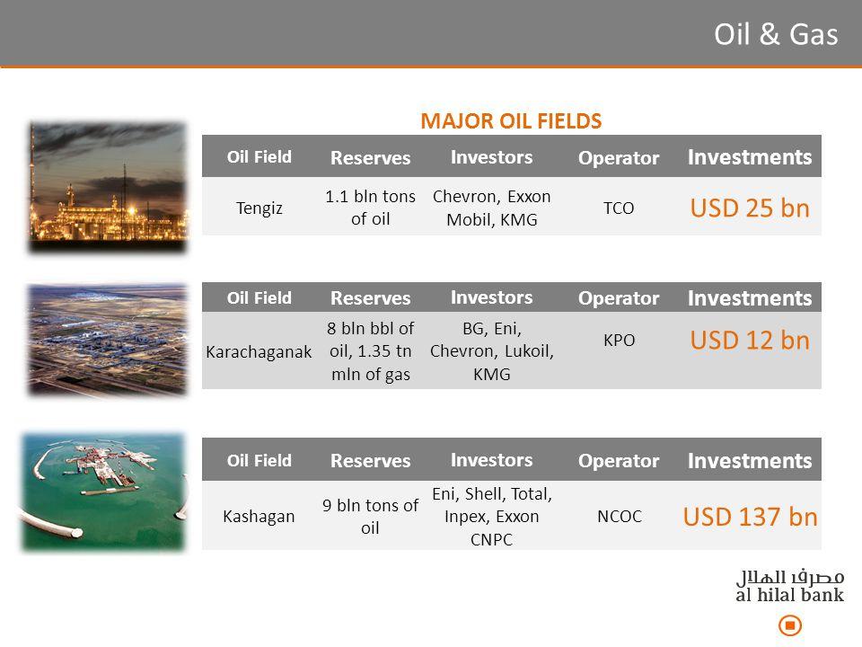 MAJOR OIL FIELDS Oil Field ReservesInvestorsOperator Investments Tengiz 1.1 bln tons of oil Chevron, Exxon Mobil, KMG TCO USD 25 bn Oil & Gas Oil Field ReservesInvestorsOperator Investments Kashagan 9 bln tons of oil Eni, Shell, Total, Inpex, Exxon CNPC NCOC USD 137 bn Oil Field ReservesInvestorsOperator Investments Karachaganak 8 bln bbl of oil, 1.35 tn mln of gas BG, Eni, Chevron, Lukoil, KMG KPO USD 12 bn