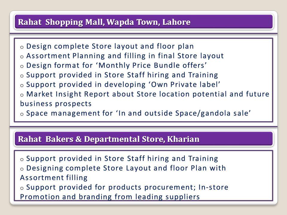 © Copyright 2012. Point Retail (Pvt) Ltd. Rahat Shopping Mall, Wapda Town, Lahore Rahat Bakers & Departmental Store, Kharian