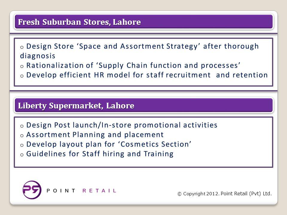 © Copyright 2012. Point Retail (Pvt) Ltd. Fresh Suburban Stores, Lahore Liberty Supermarket, Lahore
