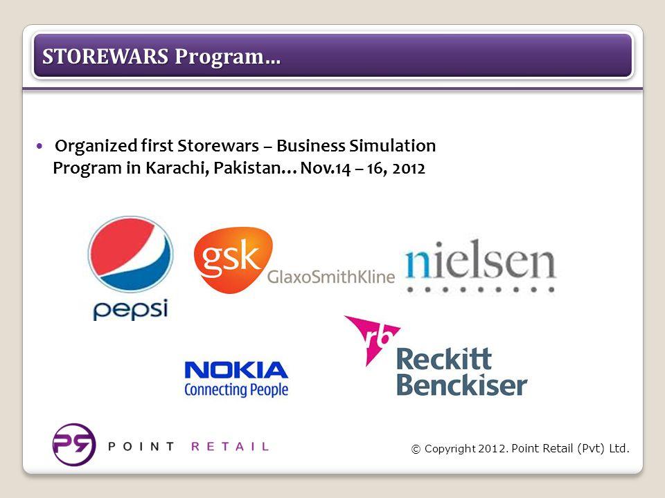 © Copyright 2012. Point Retail (Pvt) Ltd. STOREWARS Program… Organized first Storewars – Business Simulation Program in Karachi, Pakistan…Nov.14 – 16,