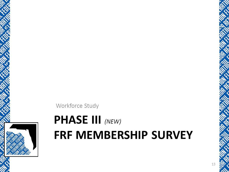 PHASE III (NEW) FRF MEMBERSHIP SURVEY Workforce Study 13