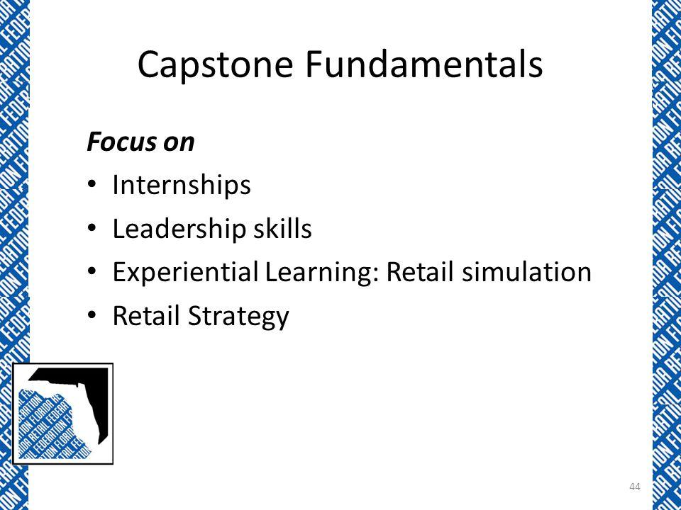 Capstone Fundamentals Focus on Internships Leadership skills Experiential Learning: Retail simulation Retail Strategy 44