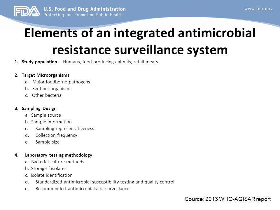 Elements of an integrated antimicrobial resistance surveillance system 1.